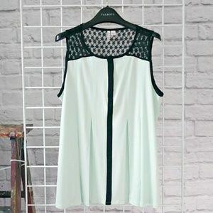 Elle Tops - Mint Green Tuxedo Sleeveless Swing Top